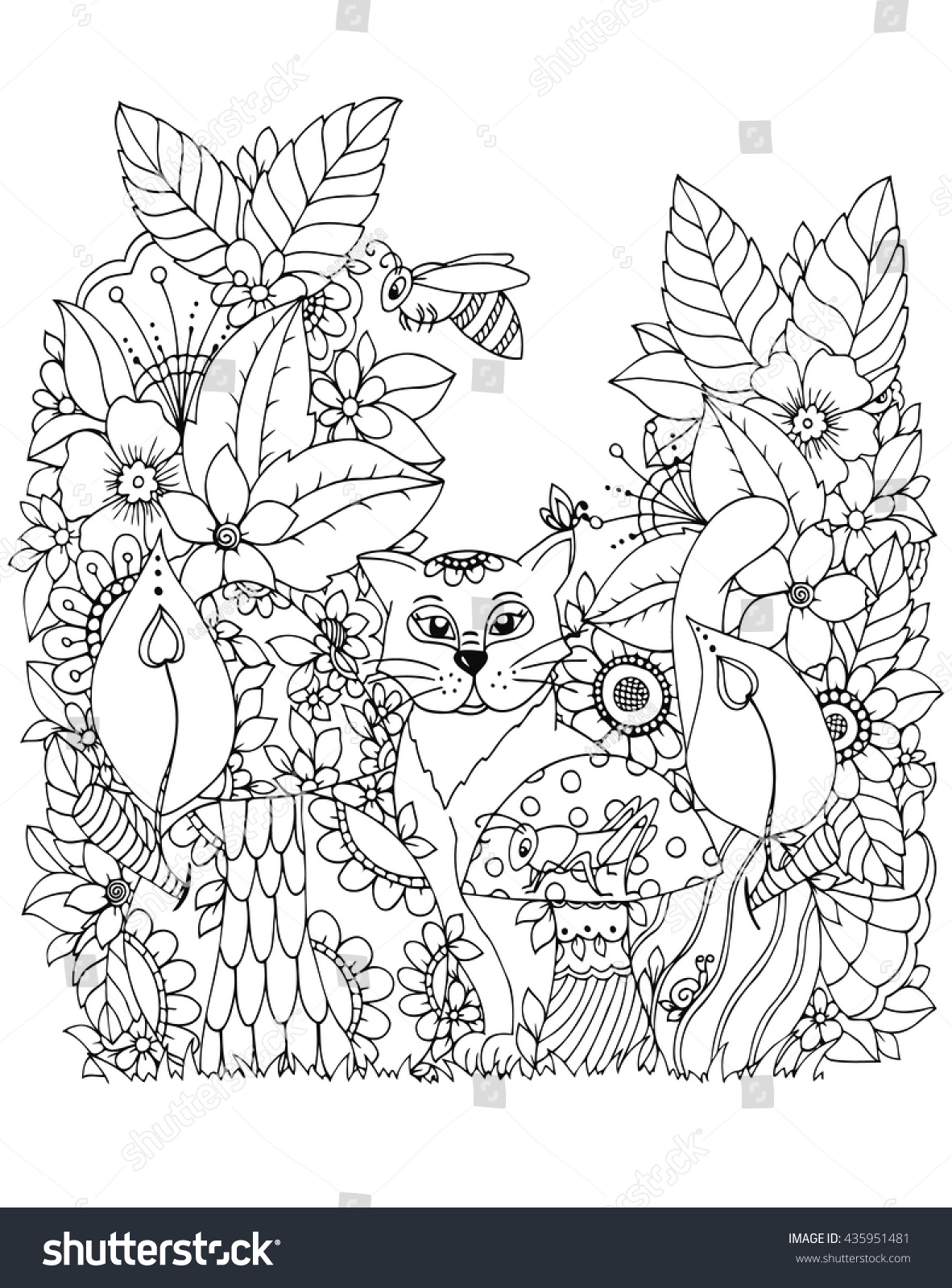 Vector Illustration Zen Tangd Cat Sitting In The Flowers Doodle Drawing Mushrooms Coloring