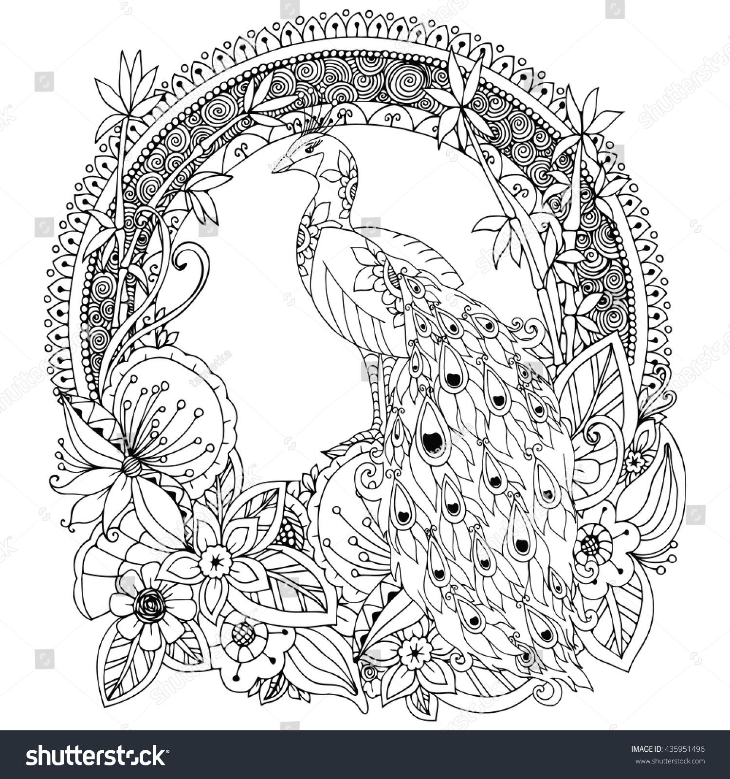 vector illustration zen tangle peacock flowers stock vector