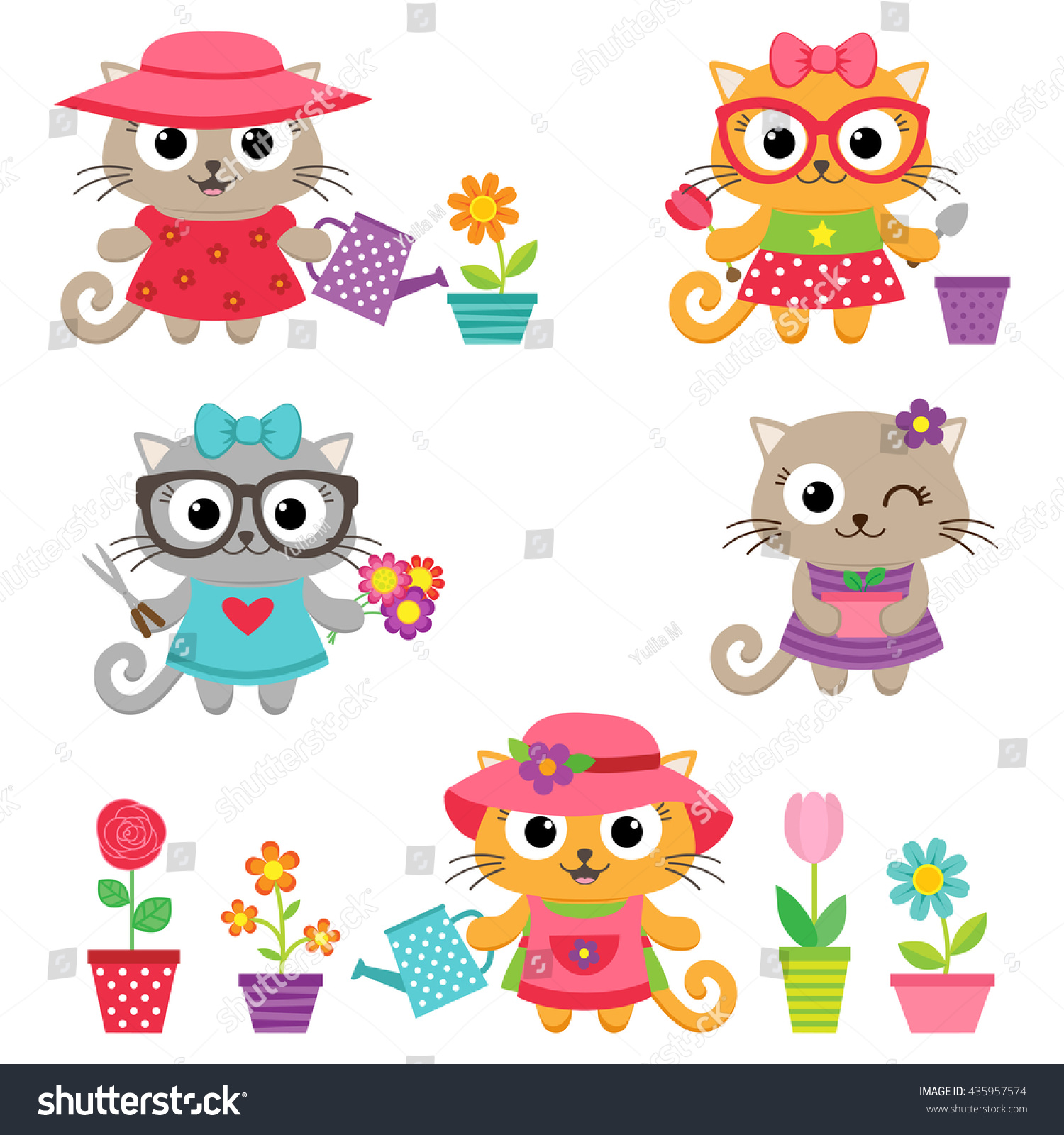 Gardening Vector Set. Cute Little Cat Girls With Gardening Tools