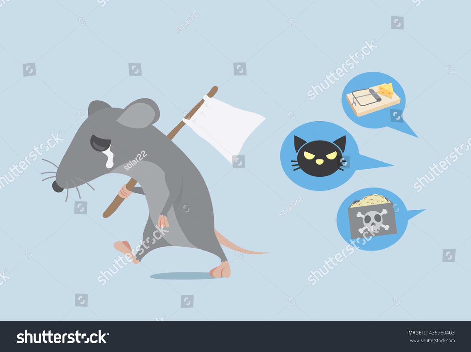 rat raise white flag give way stock vector shutterstock rat raise a white flag for give up way get rid of rat by home