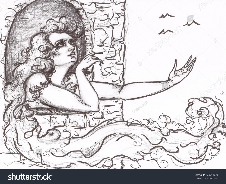 window pencil drawing. pencil drawing princess girl at tower window. window