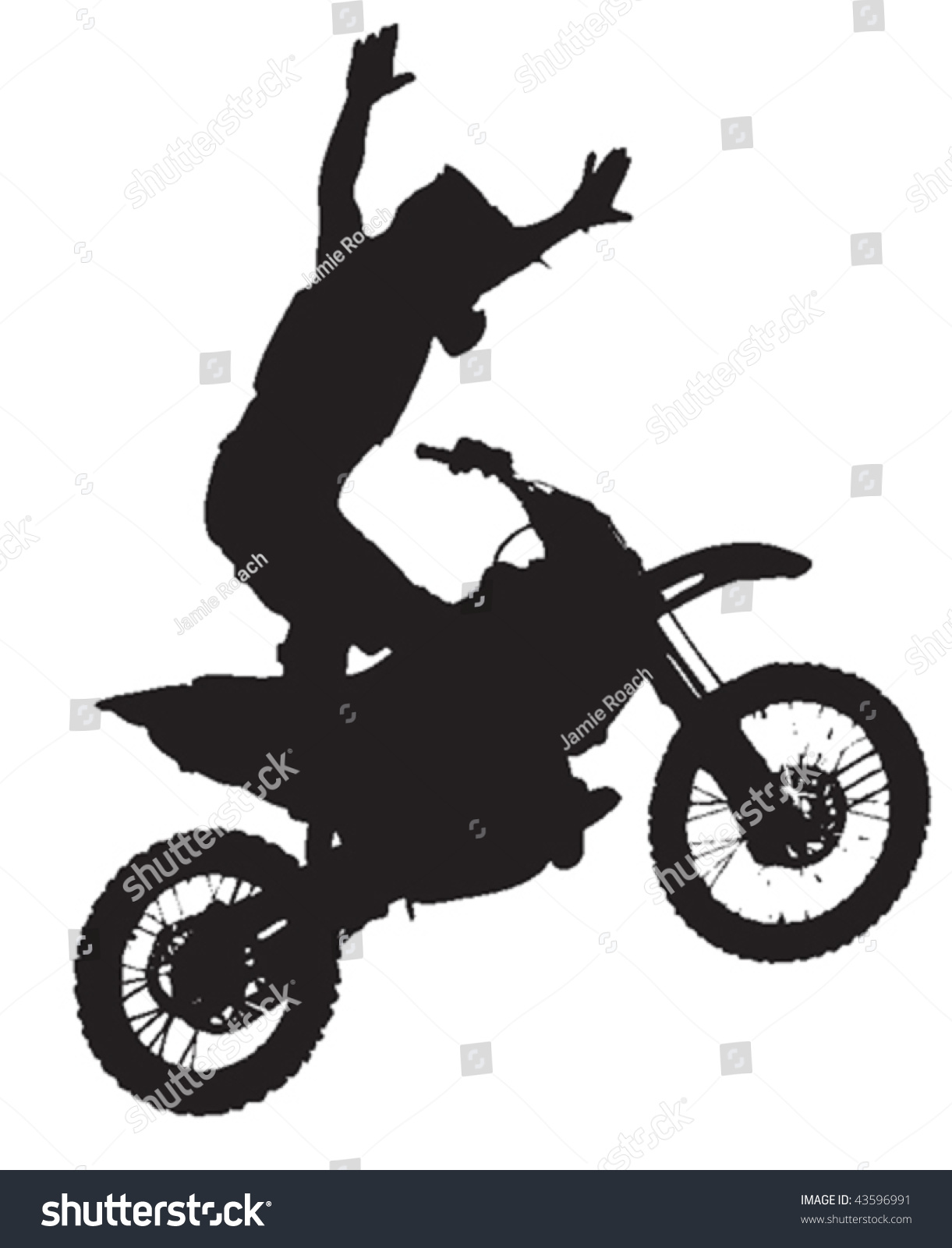 Dirt Bike Clipart Black And White Vector Silhouette Moto...