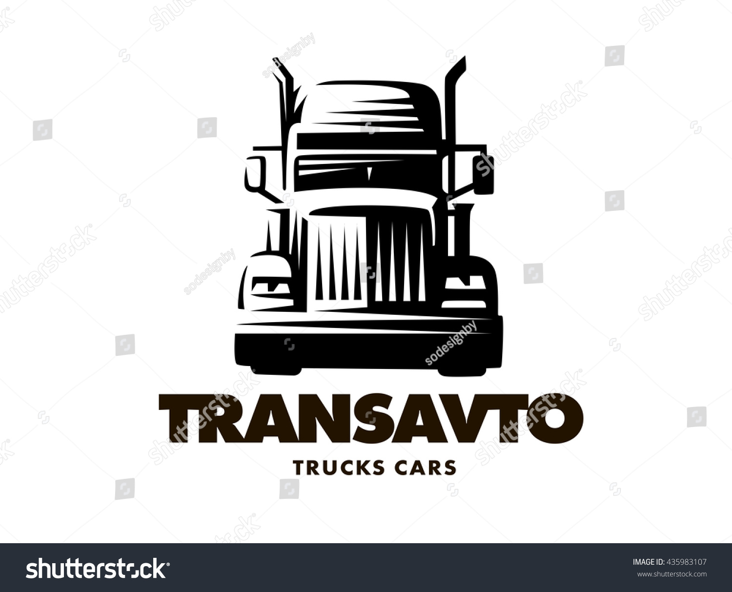 Logo Illustration Truck Front View White Stock Vector ...