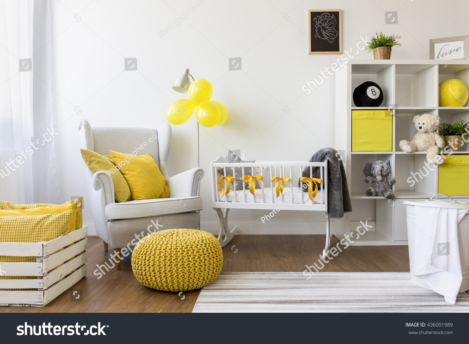 Shot Modern Cozy Baby Room Yellow Stock Photo (Download Now ...