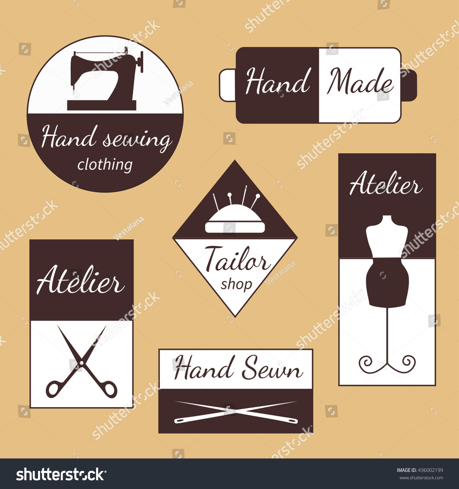 Vector Set Sewing Emblems Firm Style Stock Vector 436002199 ...