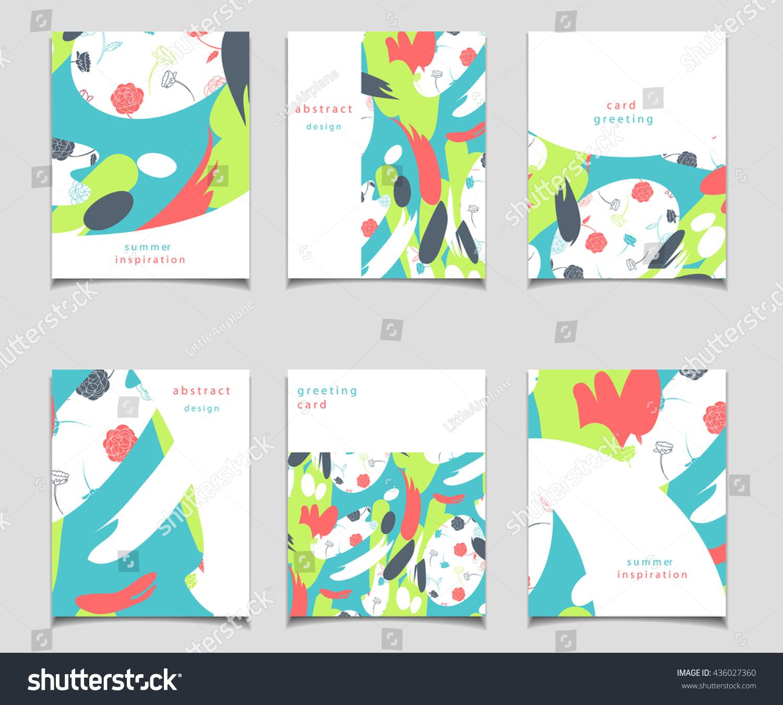 vector card set abstract design red stock vector