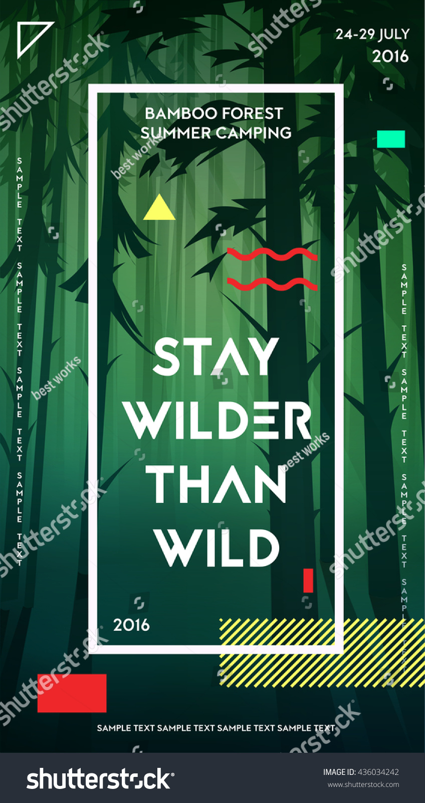 Modern Motivational Poster Template Bamboo Forest Stock Vector