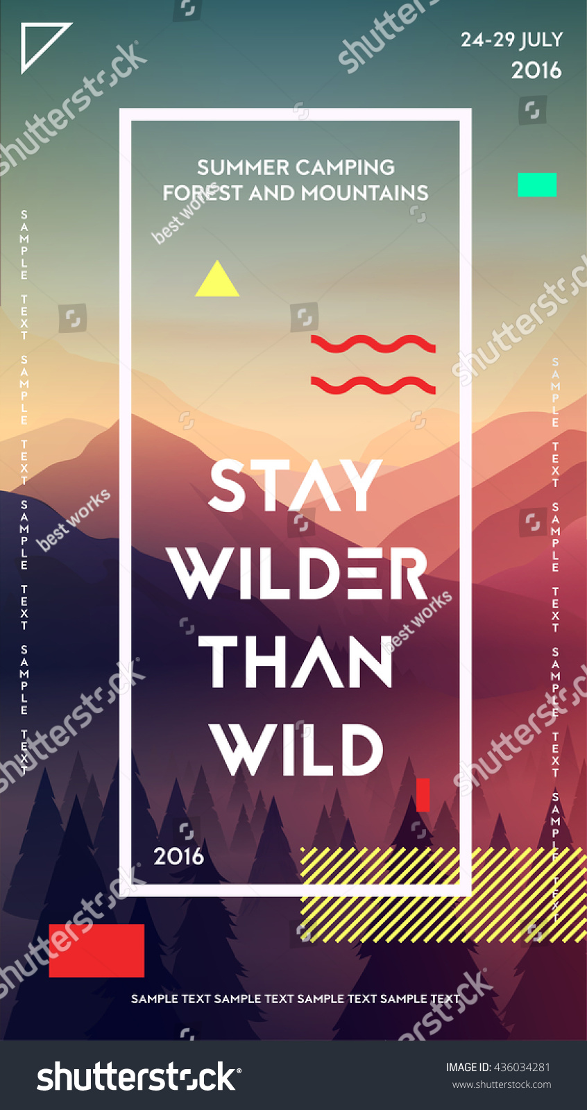 Modern Motivational Poster Template Forest Mountains Stock Vector