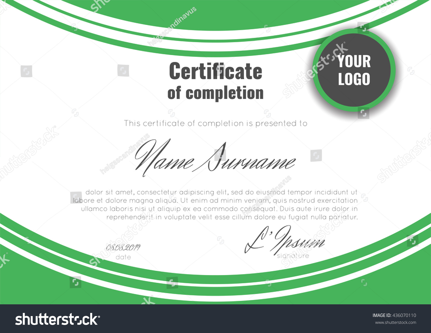 Certificate completion template geometric abstract background certificate of completion template with geometric abstract background stock vector yadclub Gallery