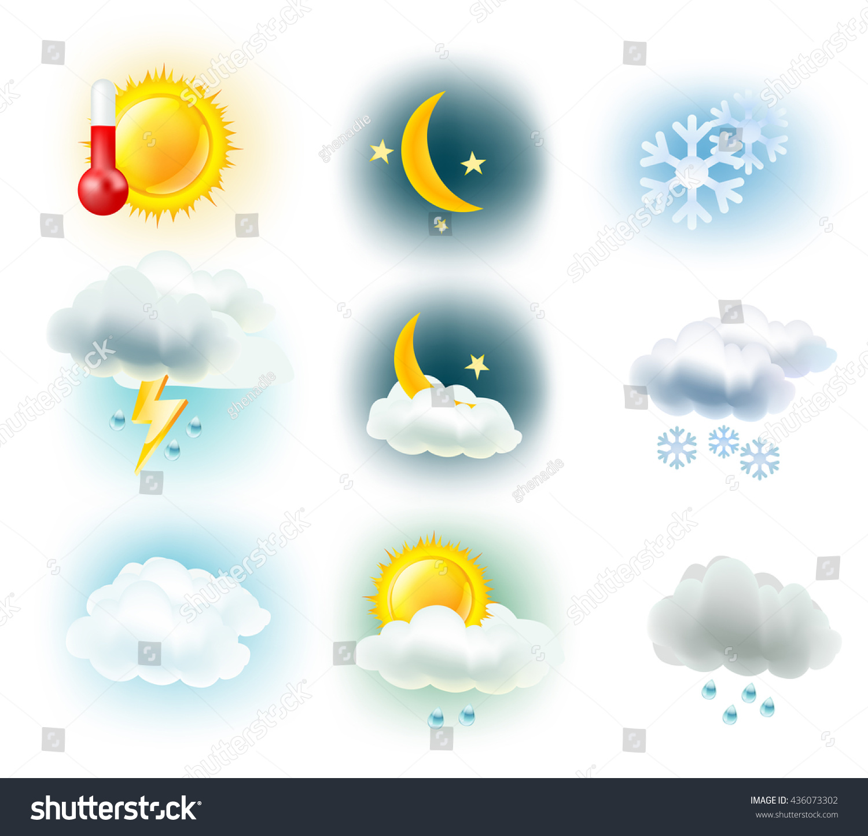 Weather symbols sun clouds moon rain stock vector 436073302 weather symbols sun clouds moon rain snow and thermometer icons buycottarizona