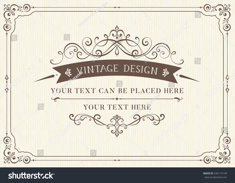 Ornate Vintage Card Design Ornamental Flourishes Stock Vector ...