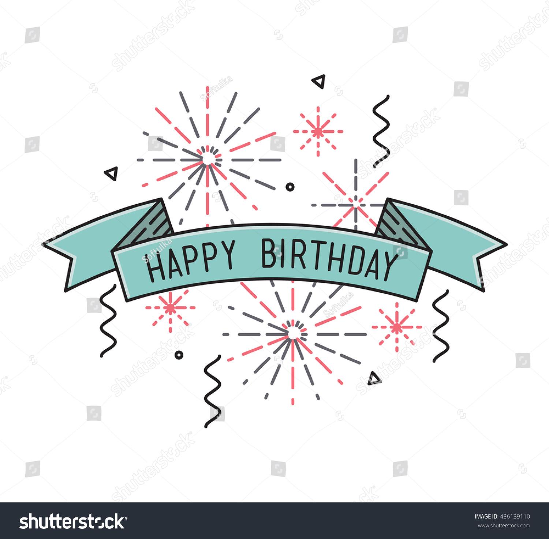 Happy Birthday Flat Design Thin Line Stock Vector