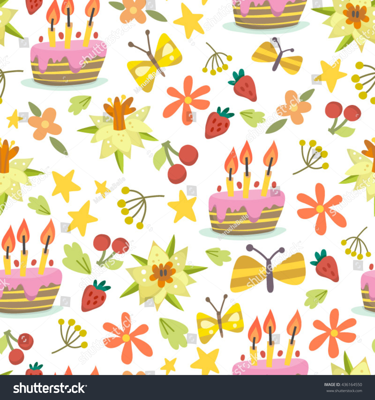 Lovely vector pattern birthday cakes flowers stock vector royalty lovely vector pattern of birthday cakes and flowers izmirmasajfo