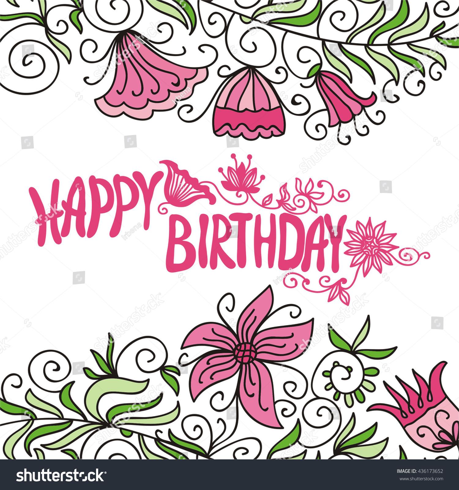 Happy birthday greeting card beautiful flowers stock vector happy birthday greeting card with beautiful flowers vector illustration izmirmasajfo