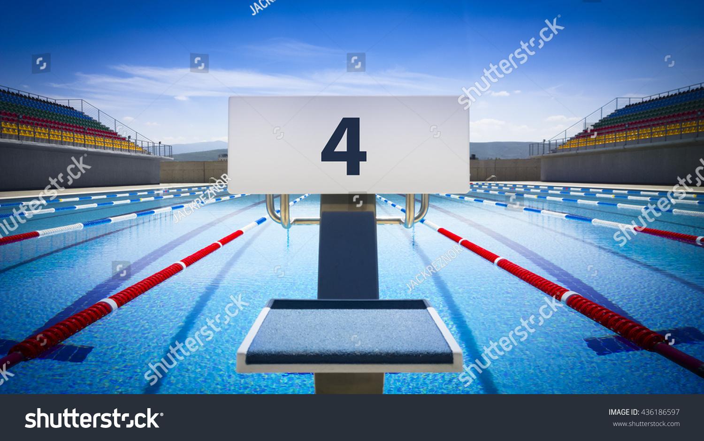 Swimming Pool Diving Platformstarting Block Swimming Stock Photo 436186597 Shutterstock