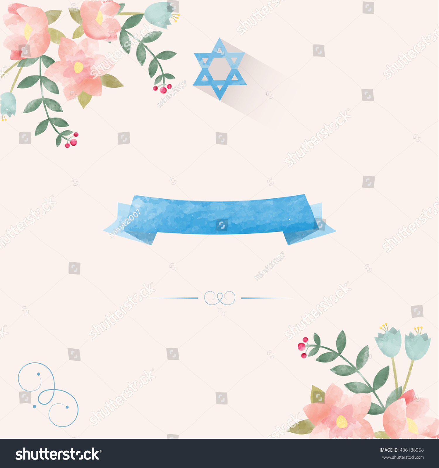 Jewish Wedding Invitation Template Hand Drawn Stock Vector 436188958