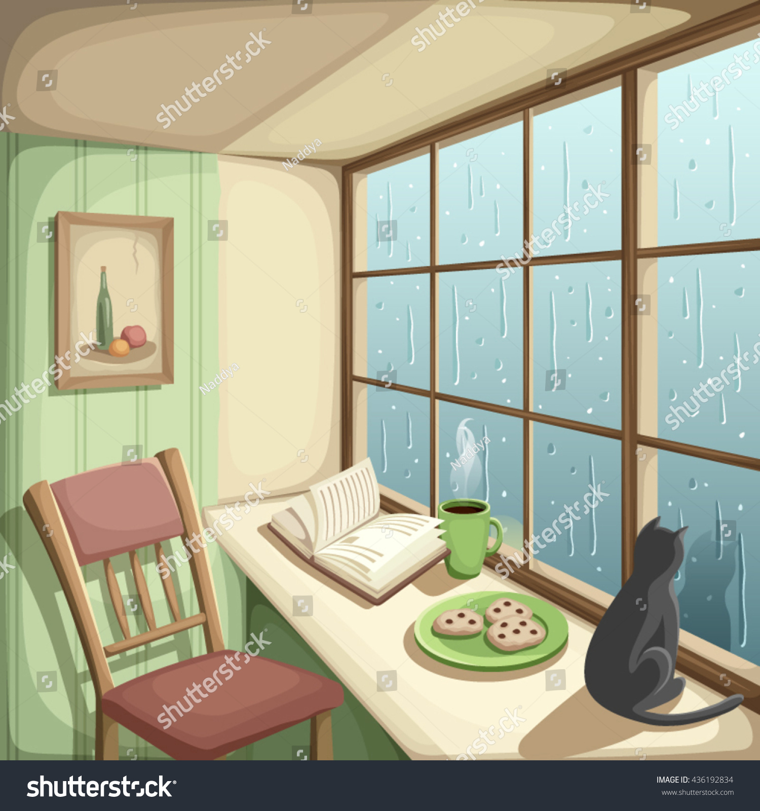 Cozy Living Room Vector Illustration: Vector Illustration Cozy Room Rain Outside Stock Vector