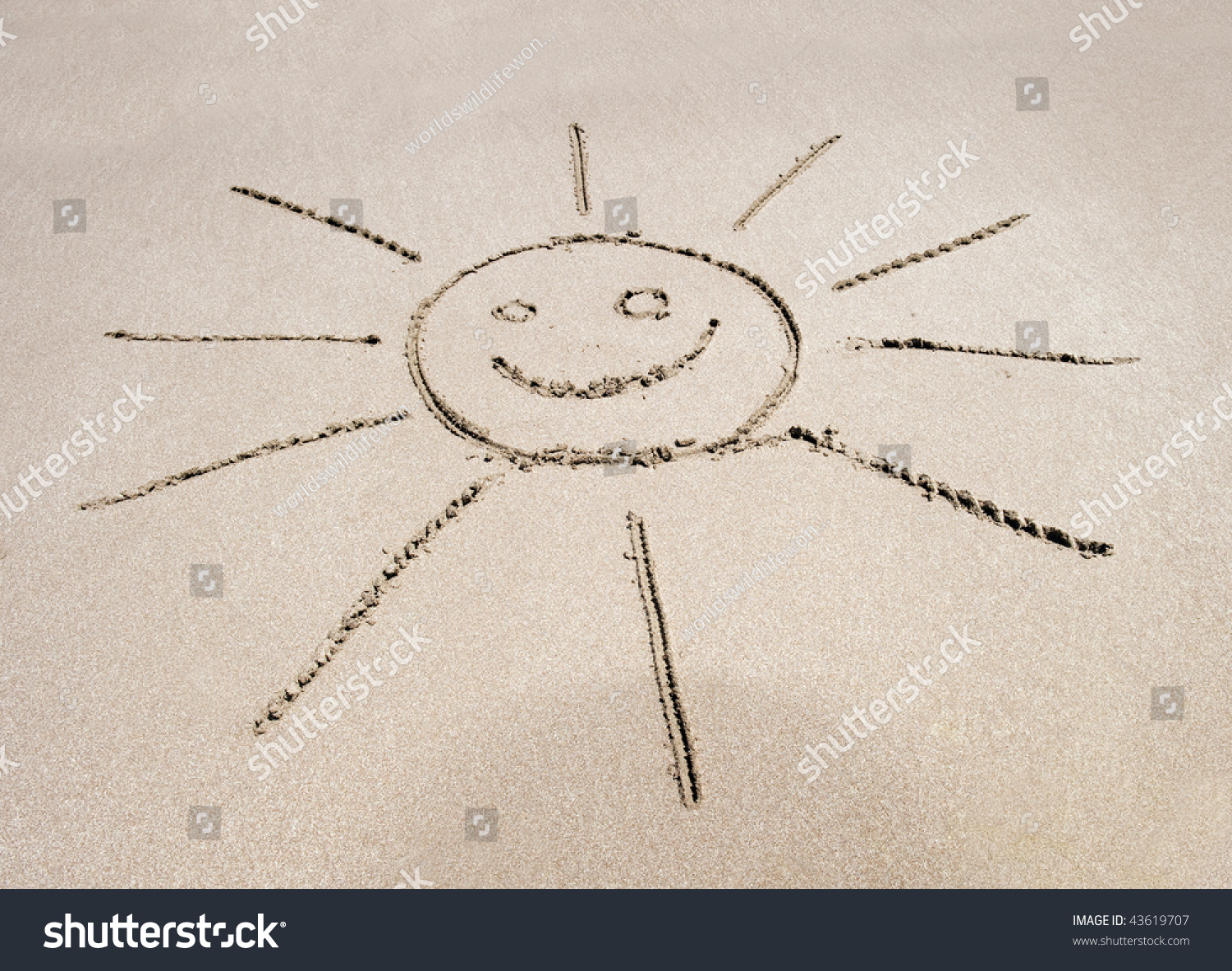 Sun symbol written sand on costa stock photo 43619707 shutterstock sun symbol written in the sand on costa rican tropical beach with smiley face biocorpaavc Images