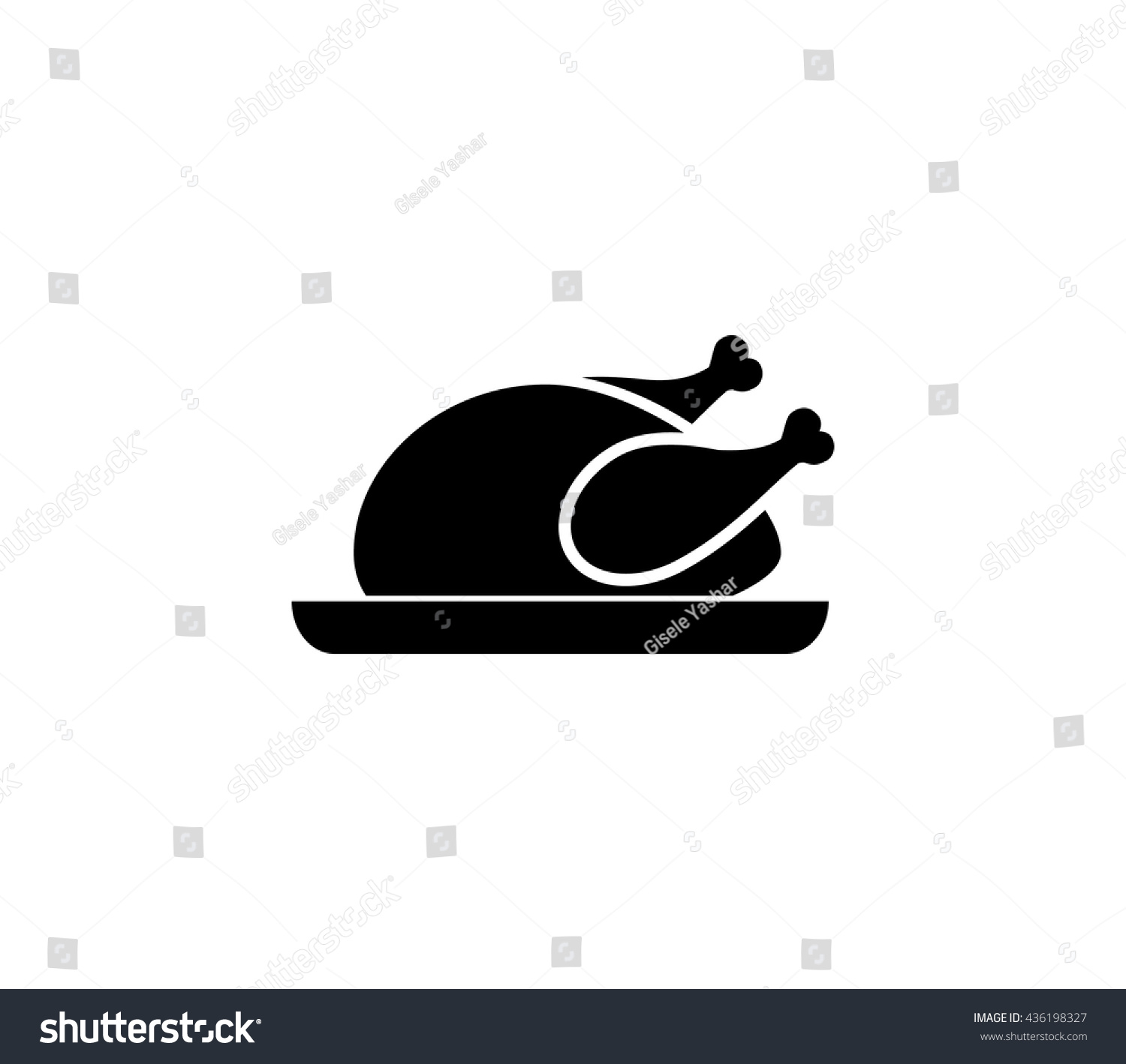 Chicken icon chicken dish vector chicken vector chicken on plate vector