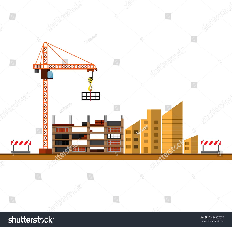 Construction Site Building House Under Construction Stock