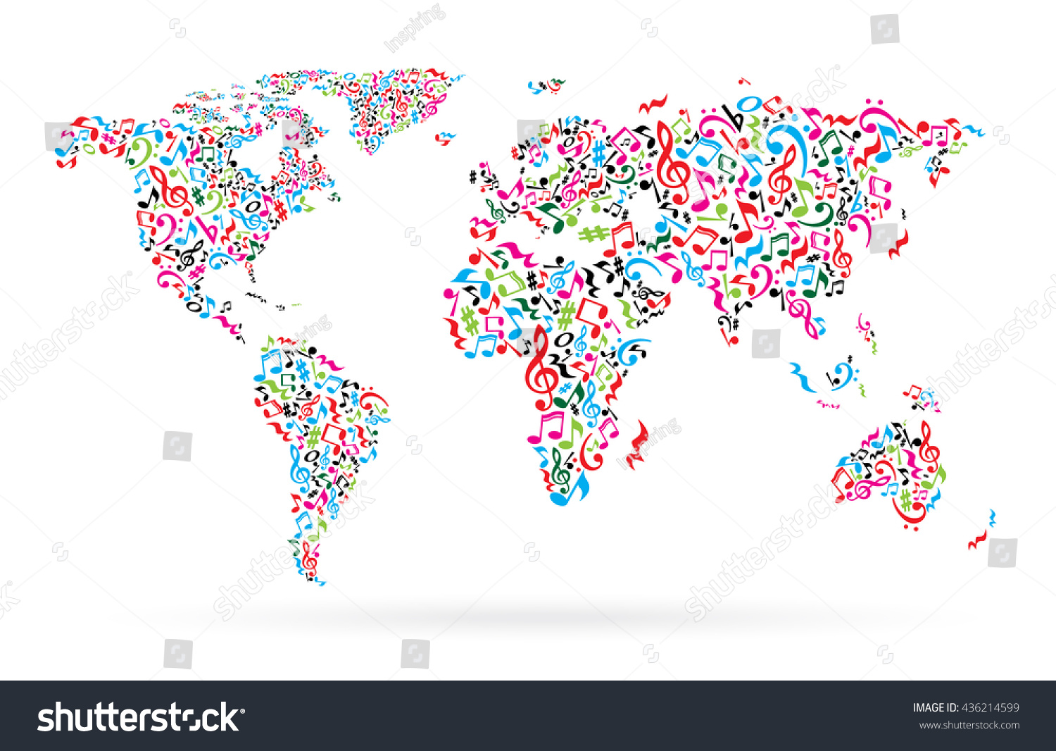 World map colorful musical notes on stock vector 436214599 world map from colorful musical notes on white background different colors notes pattern map gumiabroncs Image collections