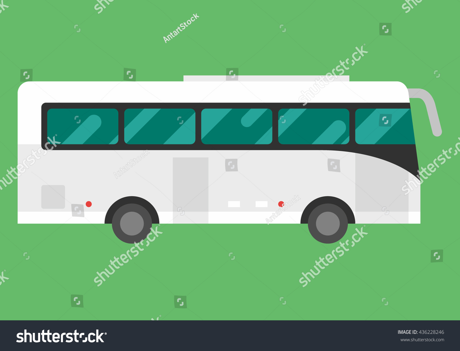 Big White Tour Bus On Light Stock Vector 436228246