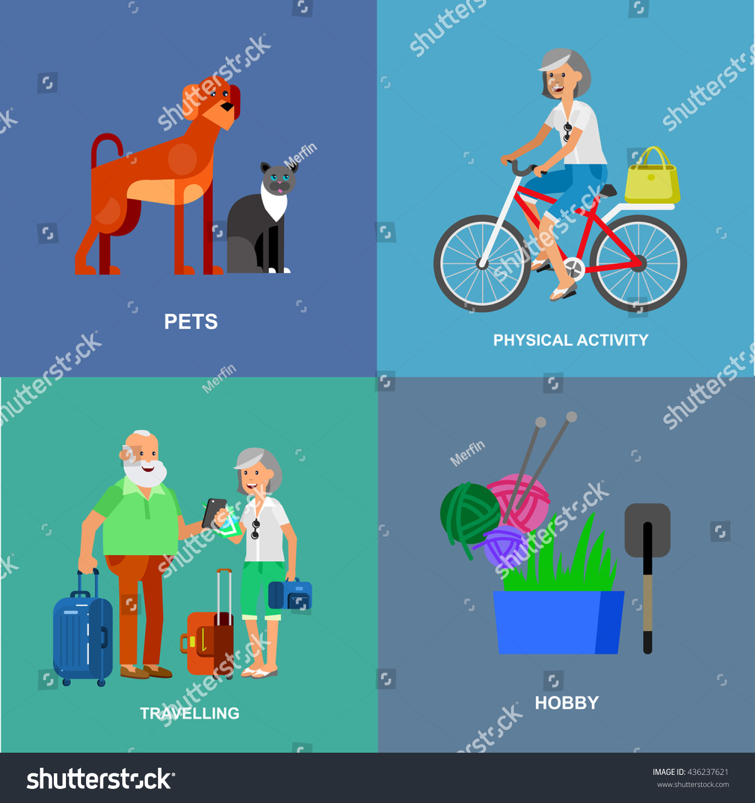 vector detailed character senior old age stock vector 436237621 vector detailed character senior old age man and icons pension hobbies and interests leisure