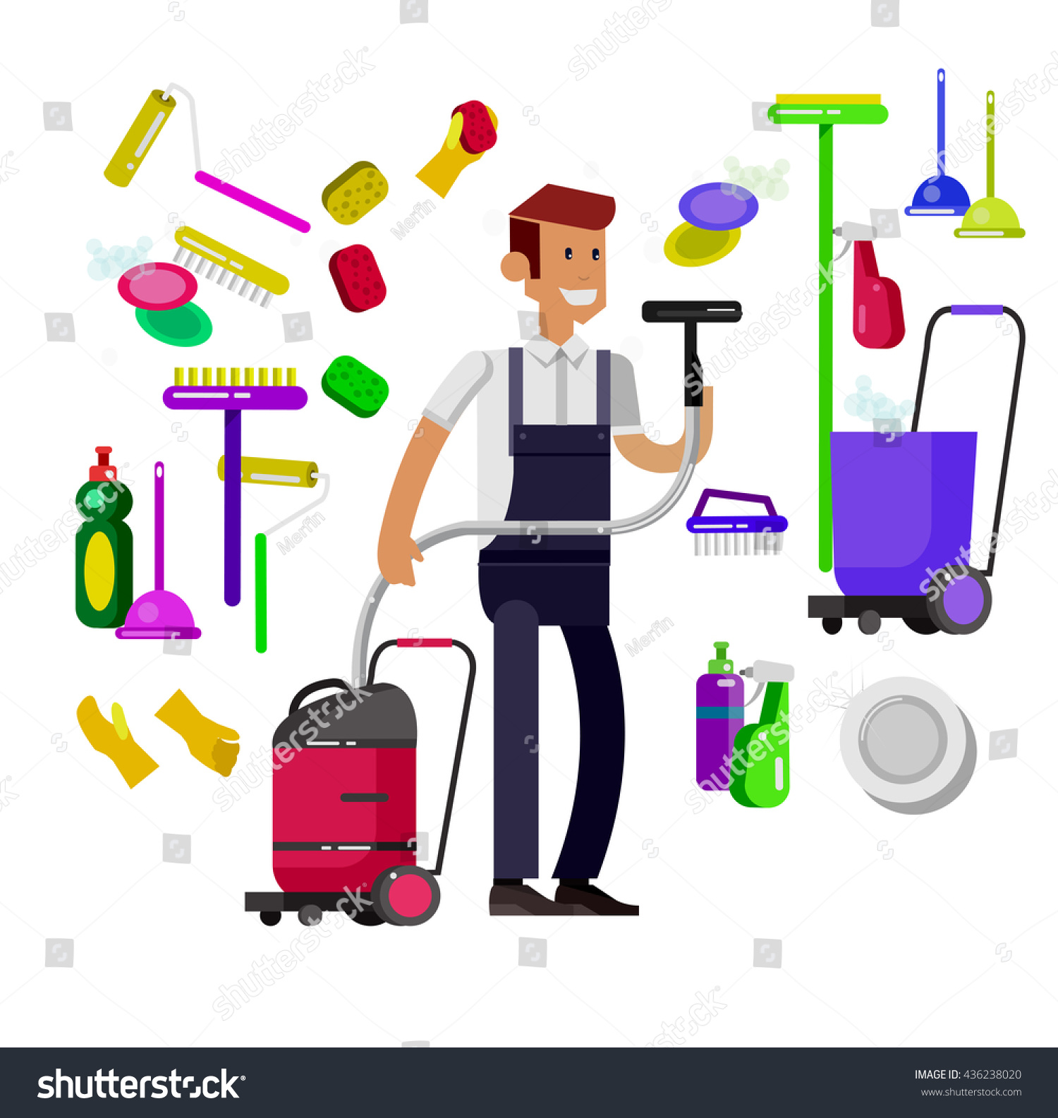 Poster design kit - Poster Design For Cleaning Service And Cleaning Supplies Vector Detailed Character Professional Housekeeper Kit