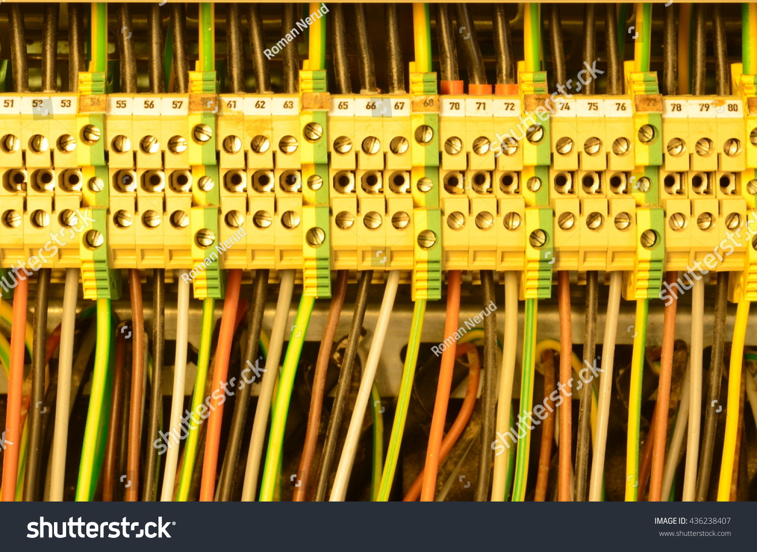 Close Wiring Connectors Terminal Blocks Multi Stock Photo Edit Now Up Color Wire Cables