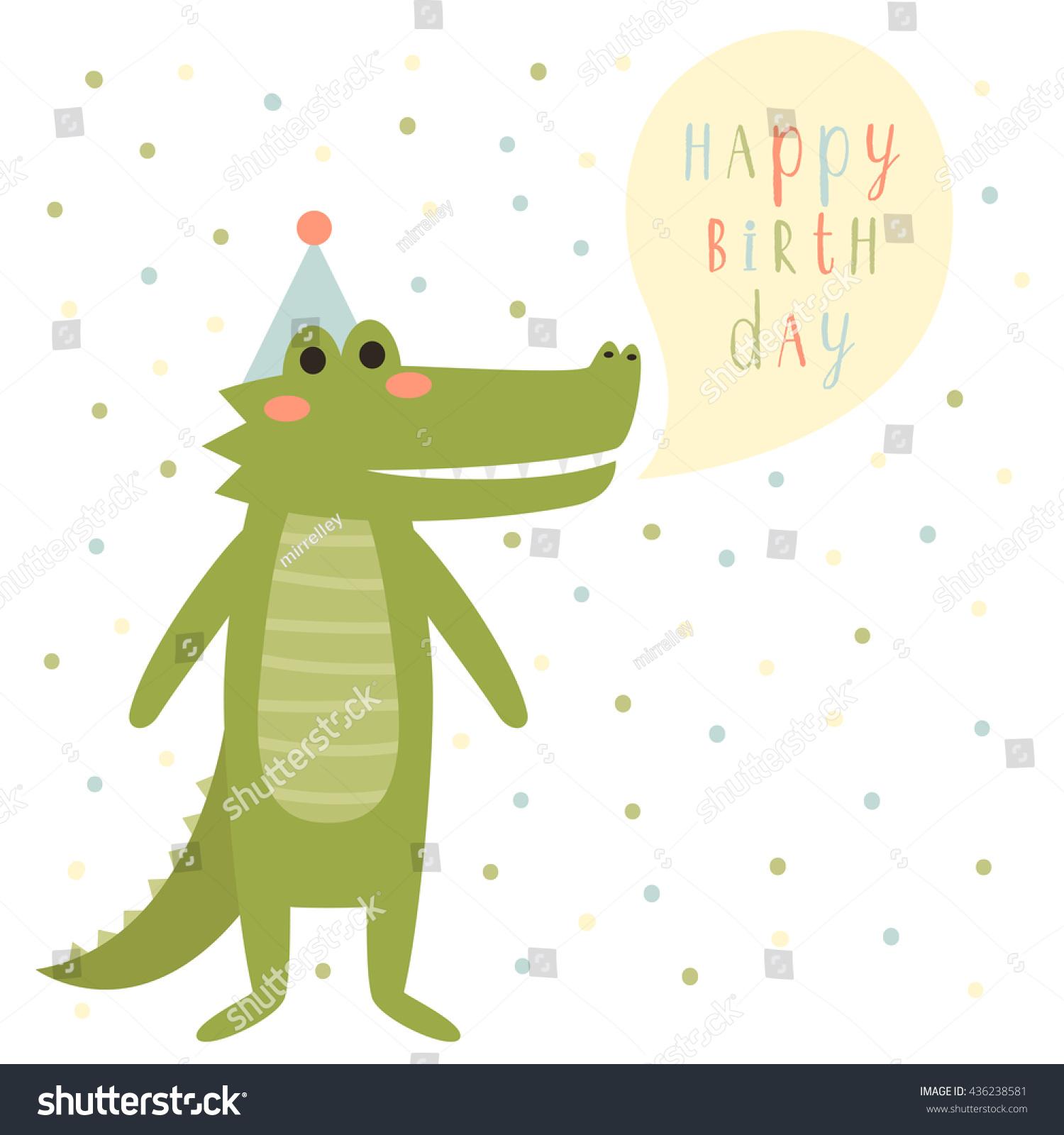 Birthday Card Template Cute Cartoon Alligator Stock Vector