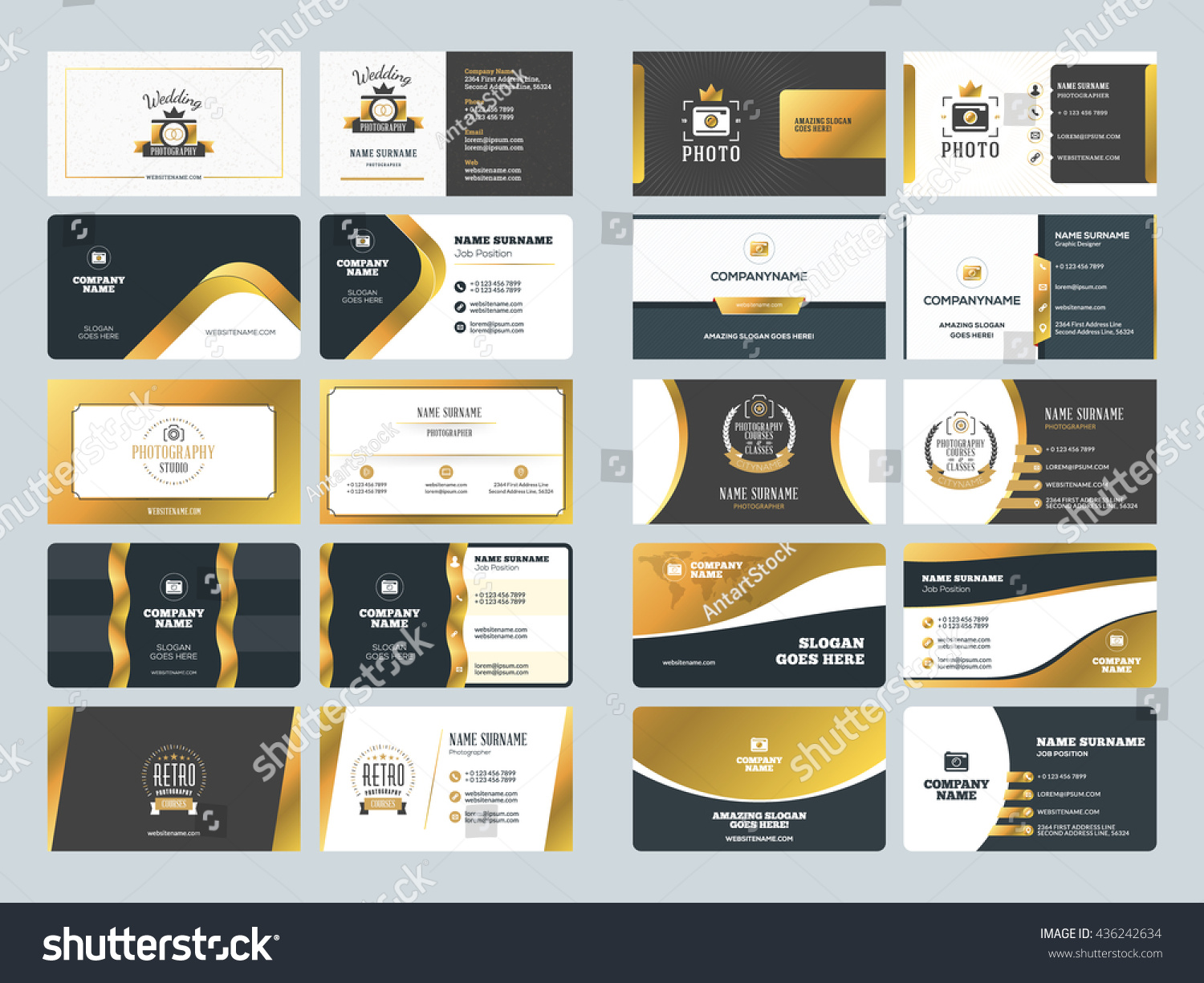 Set creative golden business card design stock vector 436242634 set of creative golden business card design templates vector illustration stationery design gold accmission Image collections