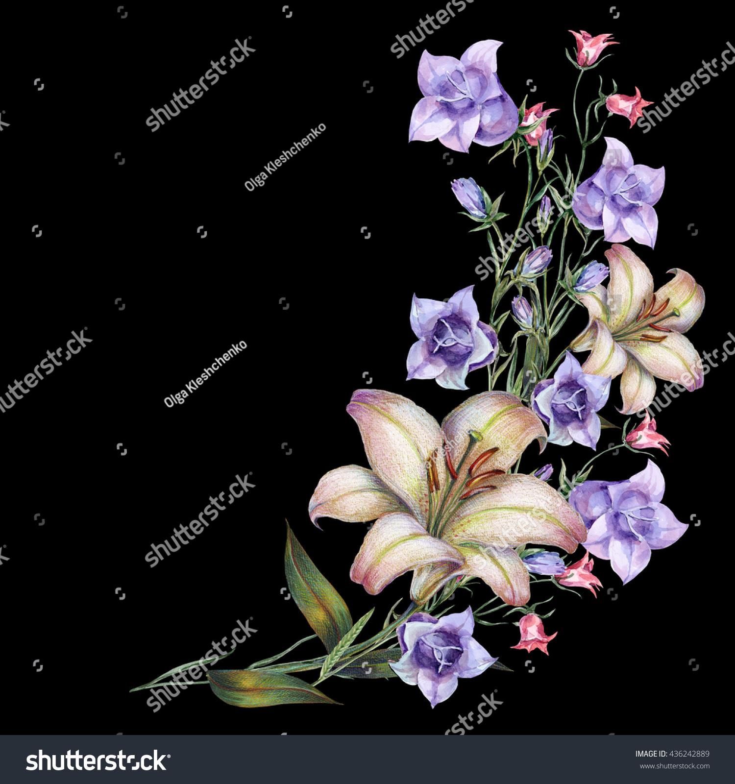 Watercolor Bell Flower White Lily Corner Stock Illustration
