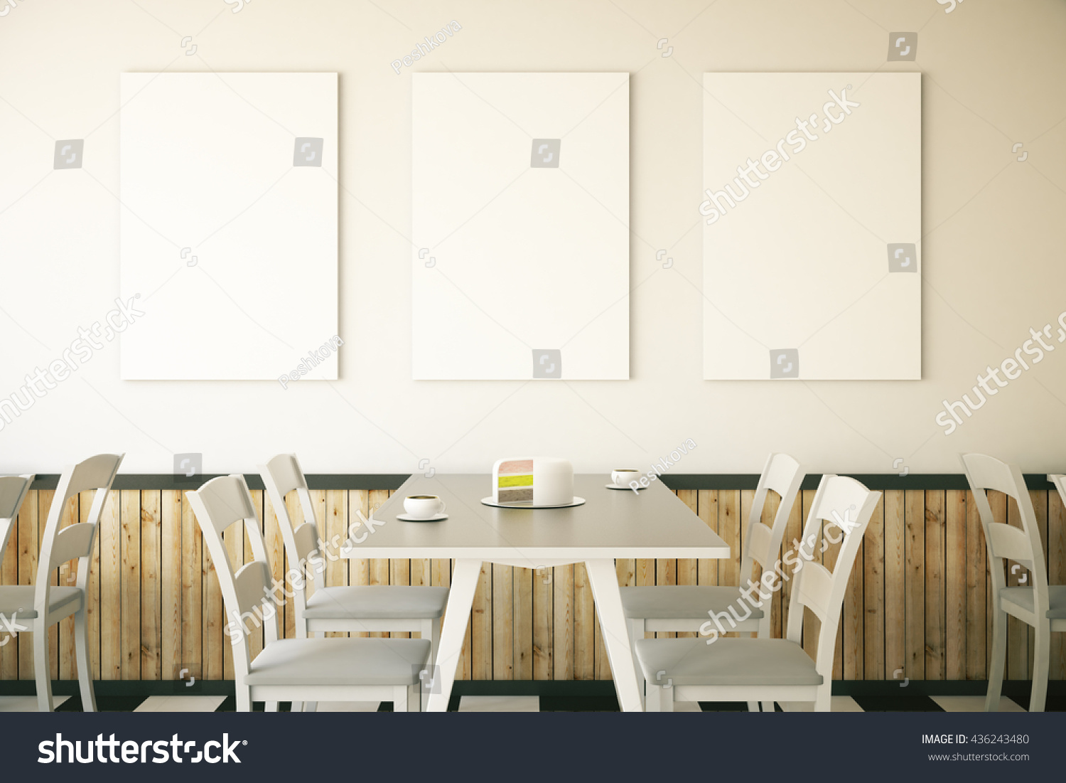 cafe interior cake on table three stock illustration 436243480