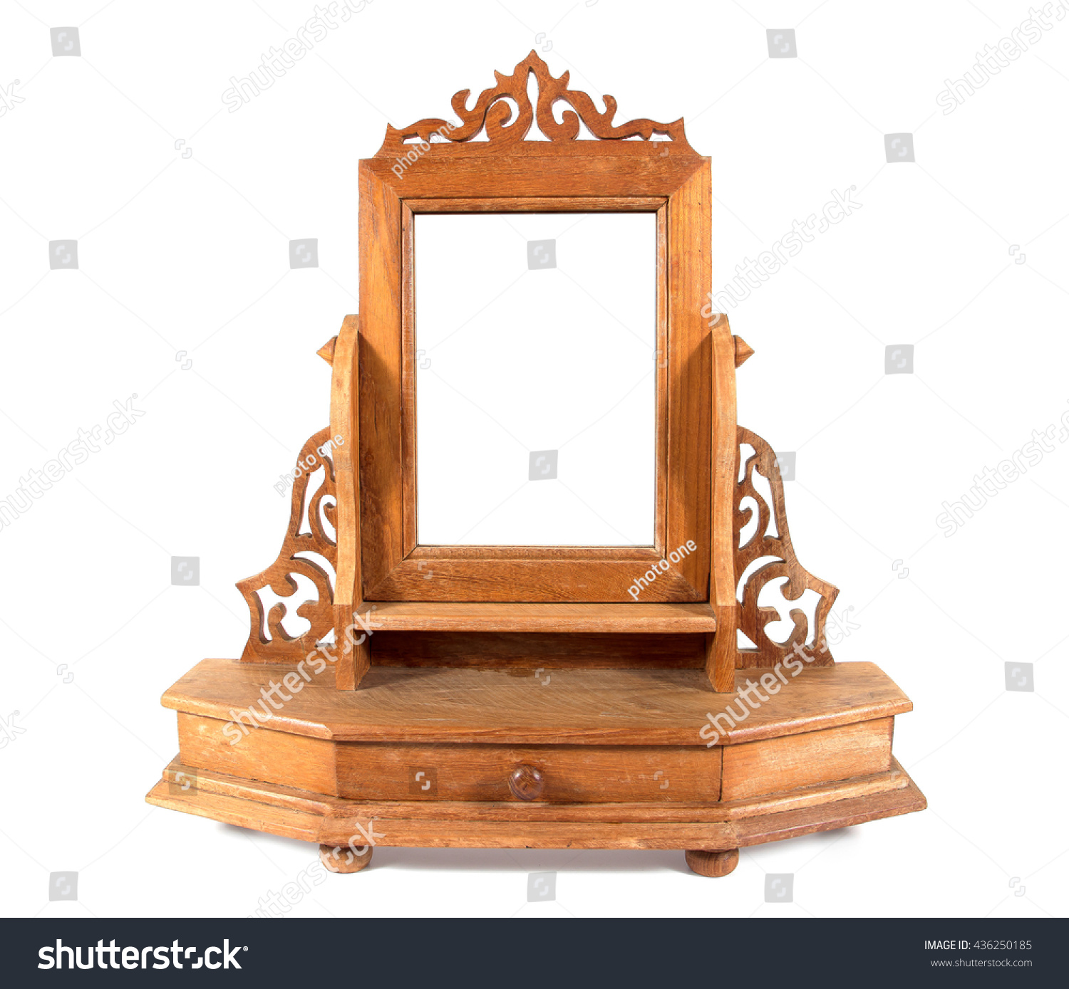 Retro wooden carving dressing table mirror stock photo