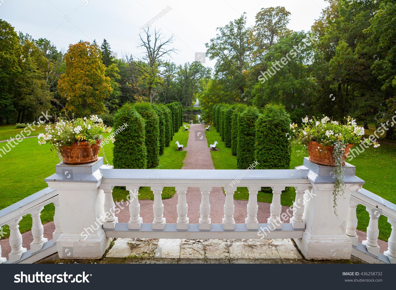 White Stoned Stairs And Terrace Of Sagadi Manor, Lahemaa, Estonia