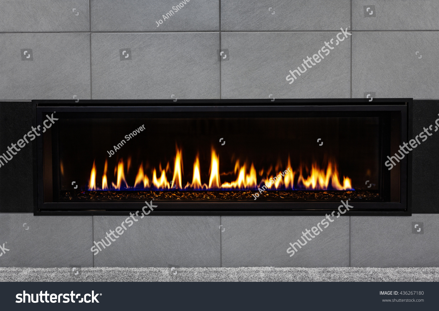 sleek modern gas fireplace gray tile stock photo 436267180