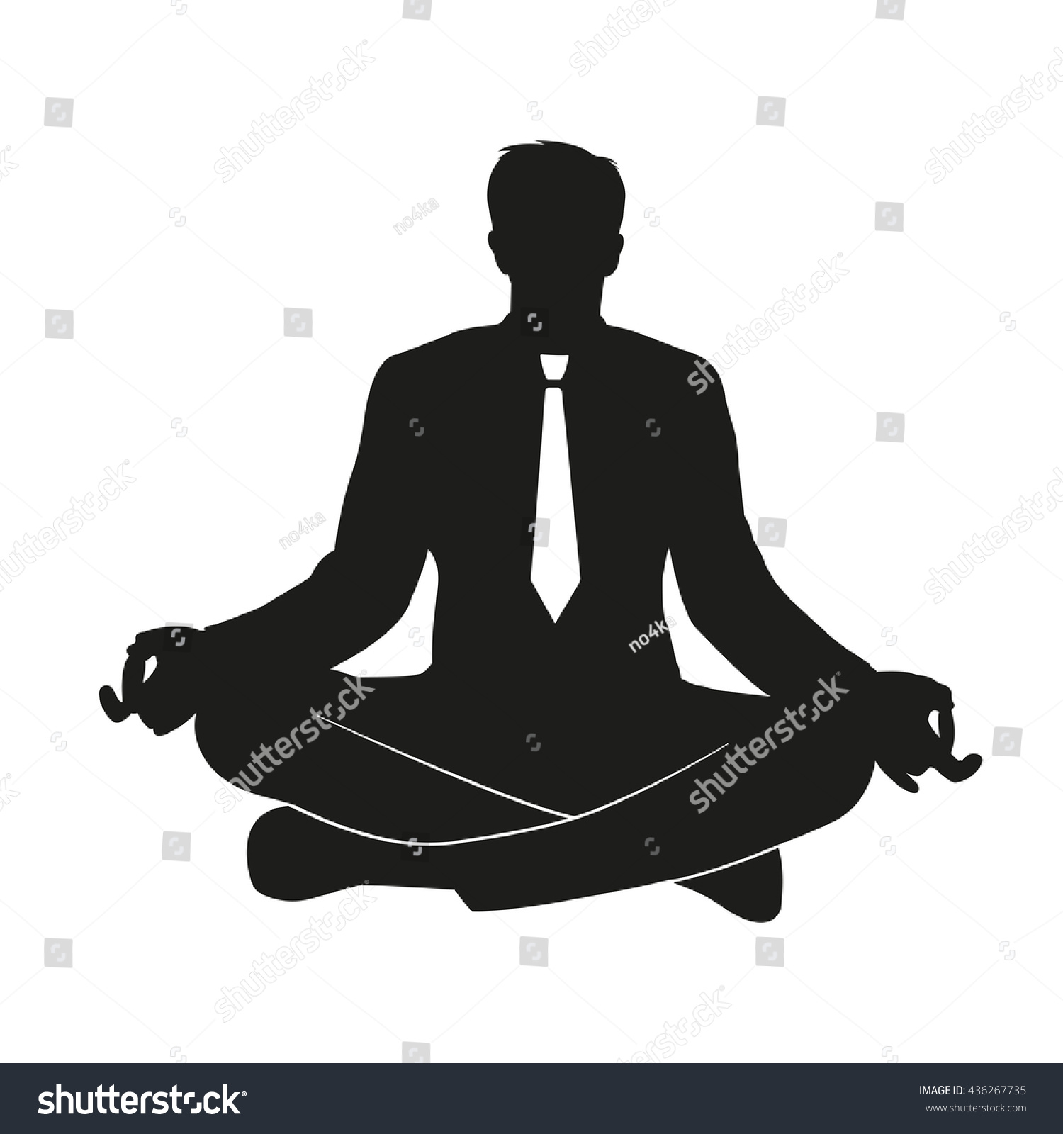 meditation businessman office. Vector Illustration Of Businessman Practicing Yoga At Office Flat Icon The Meditating Worker Meditation