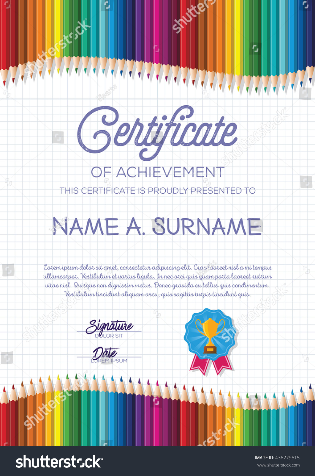 Certificate Template Colorful Pencil Frame Children Stock Vector