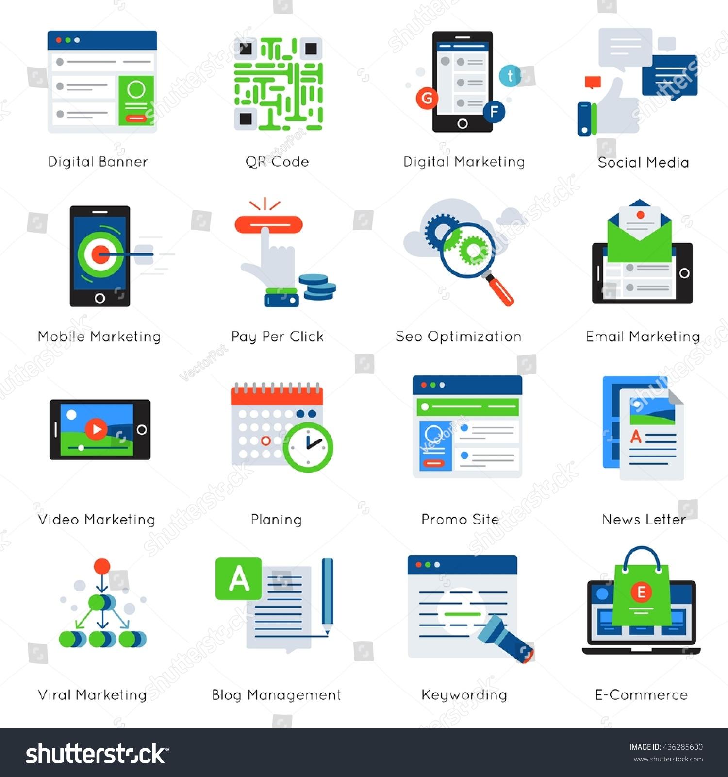Digital Marketing Flat Icon Set Descriptions Stock Vector (Royalty ...