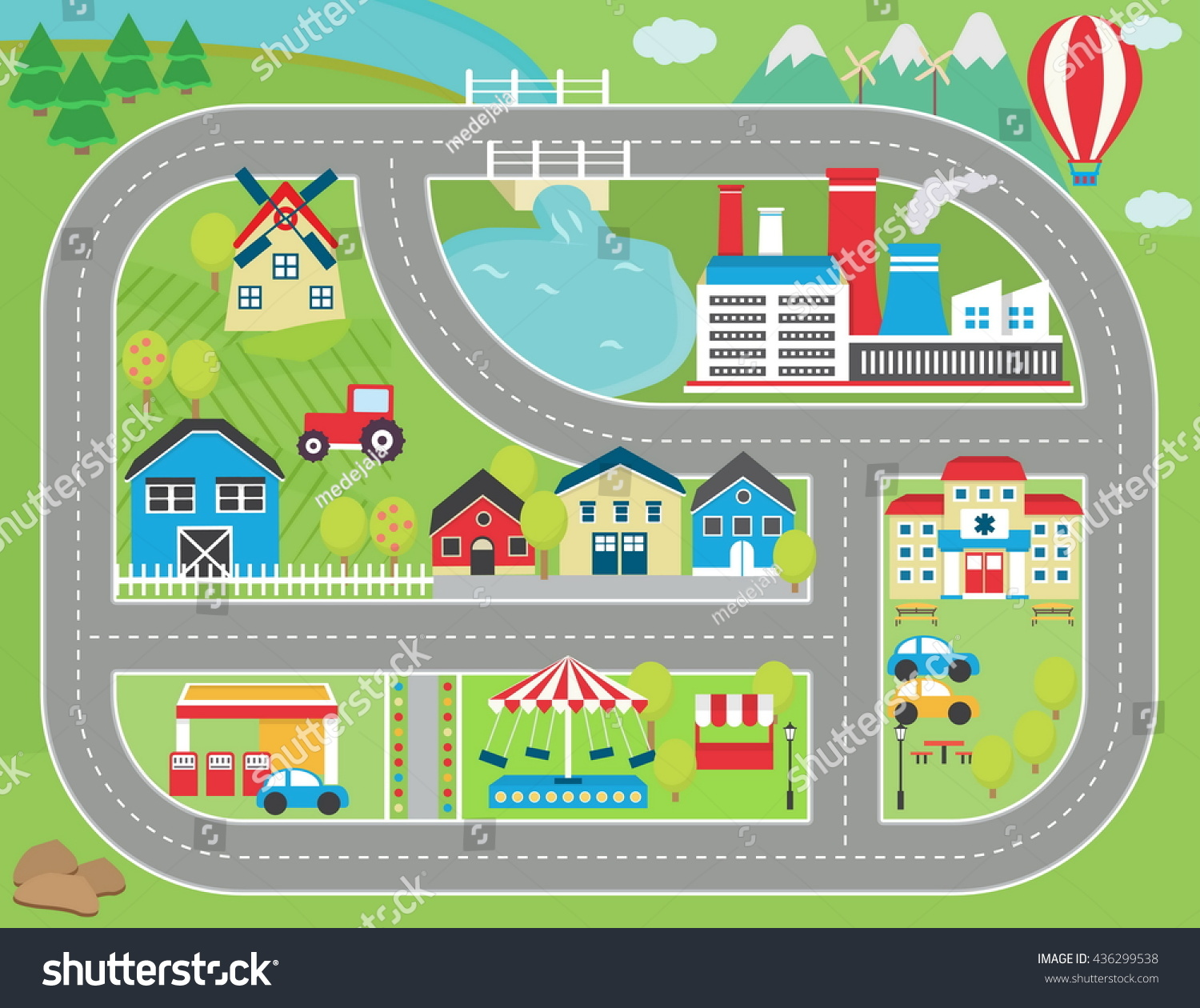 Lovely City Landscape Car Track Play Stock Vector