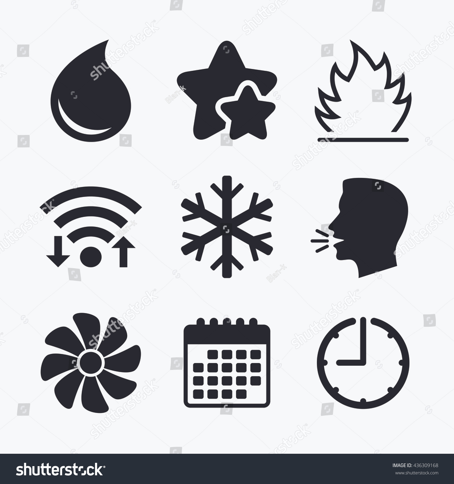 Hvac Icons Heating Ventilating Air Conditioning Stock Vector