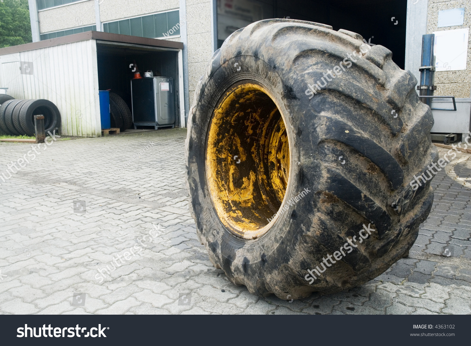 Large Tractor Wheels : Repair of a very big tractor wheel stock photo