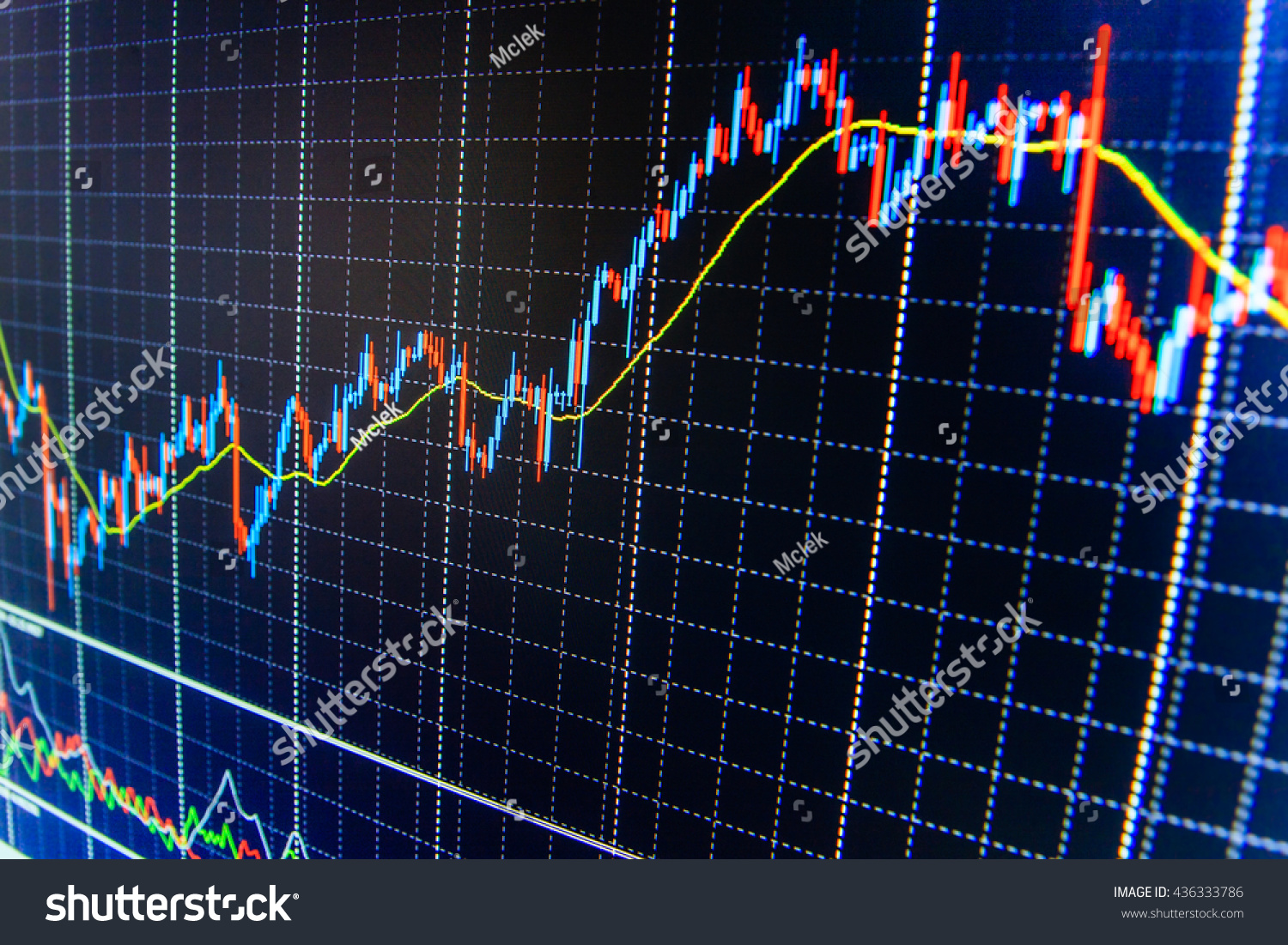 Stock trade live blue screen finance stock photo 436333786