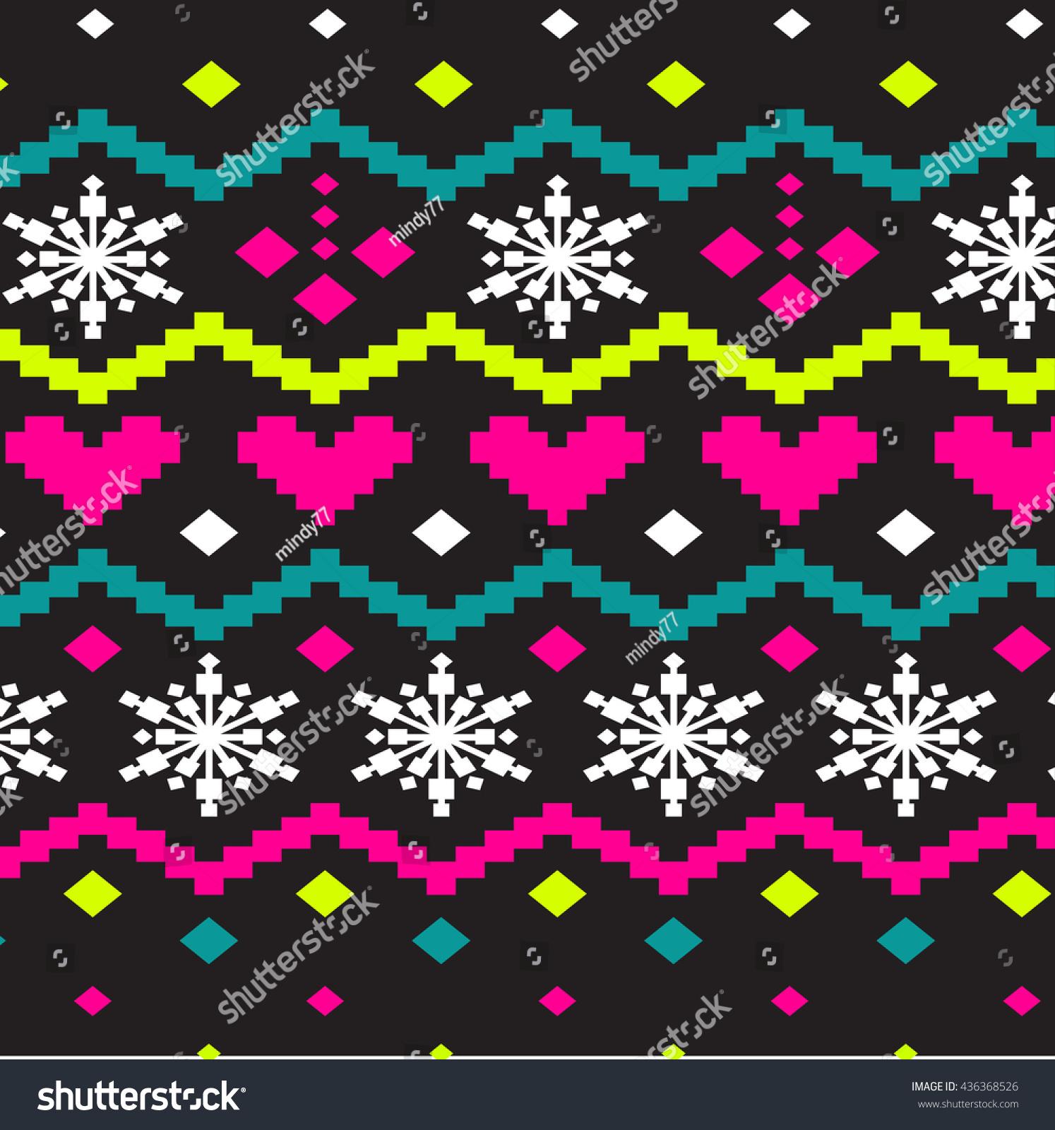 Christmas Sweater Design Seamless Knitting Pattern Stock Vector ...