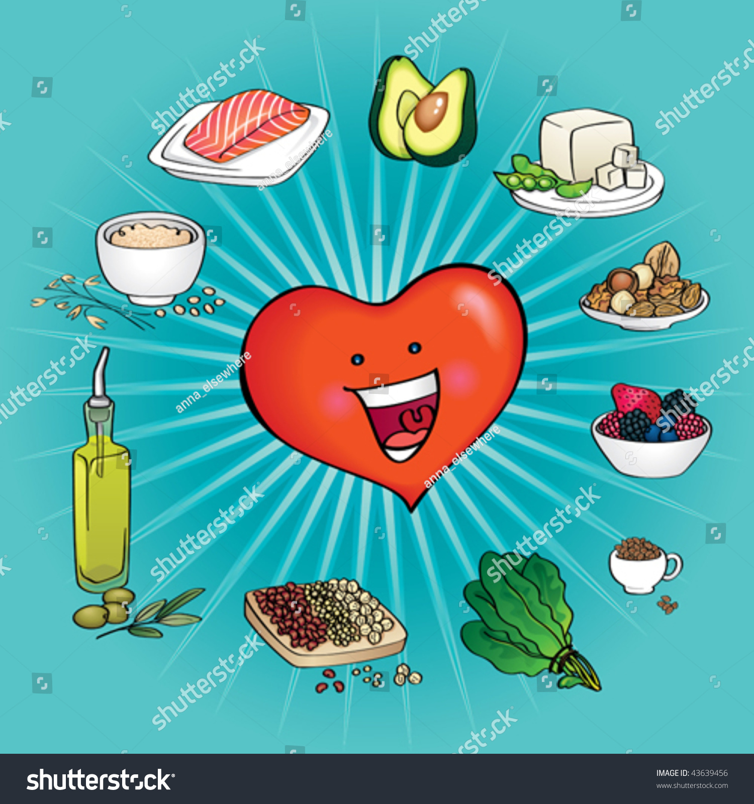 Ten Best Foods Heart Healthy Cartoon Stock Vector 43639456 ...