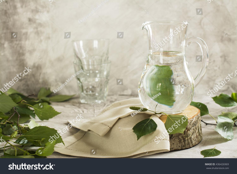 Birch Sap Glass Jar Over Stone Stock Photo (Edit Now) 436426969