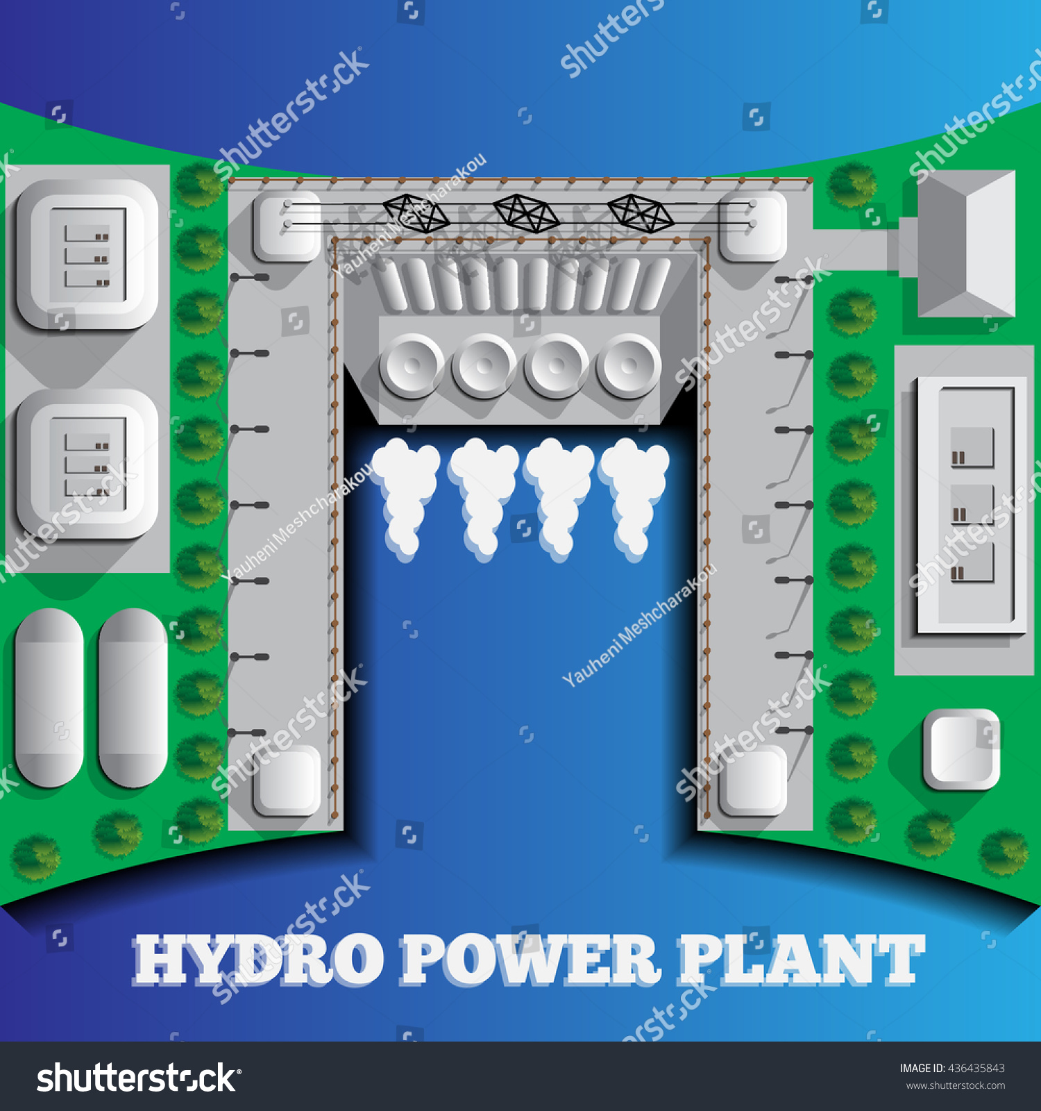 Hydroelectric Power Plant Blue Background Stock Vector