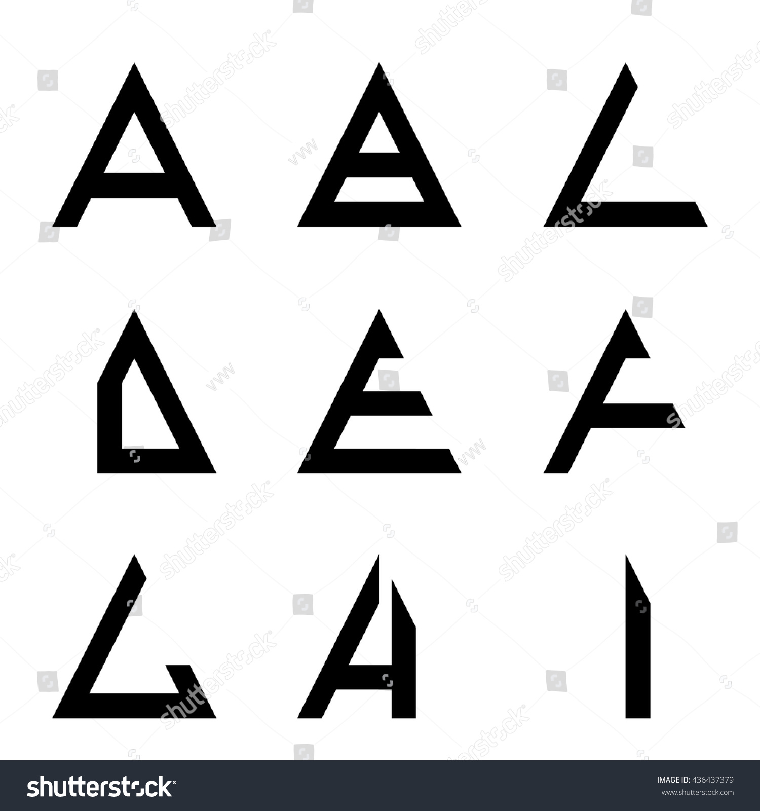 A I Triangle Shapes Alphabet Letters Font Logo Symbol Icon Graphic