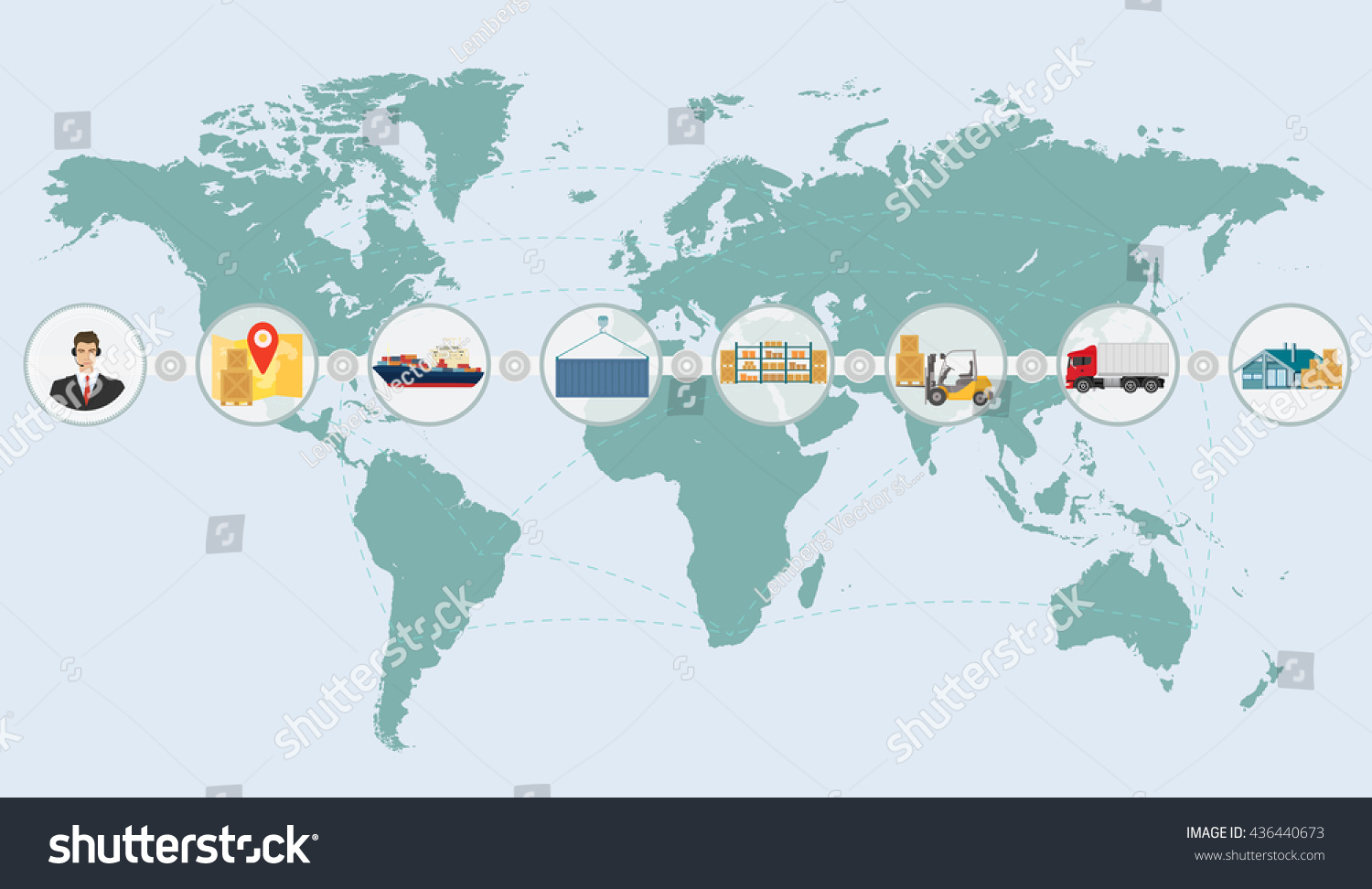 World map concept cargo logistics delivery stock vector 436440673 world map concept of cargo logistics delivery shipping service infographics international business import and export gumiabroncs Gallery