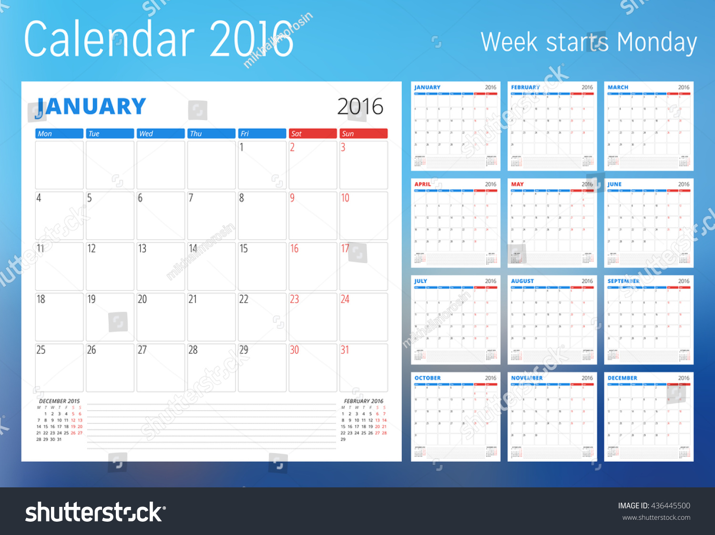 Planner Style Calendar Template : Calendar year planner template vector stock